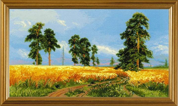 Вышитая картина по мотивам работ Шишкина