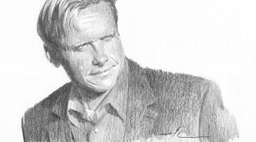 Портрет мужчины, нарисованный простым карандашом